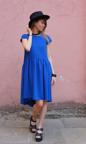 blue light silhouette dress