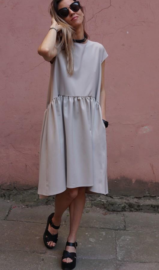 creamy light silhouette dress