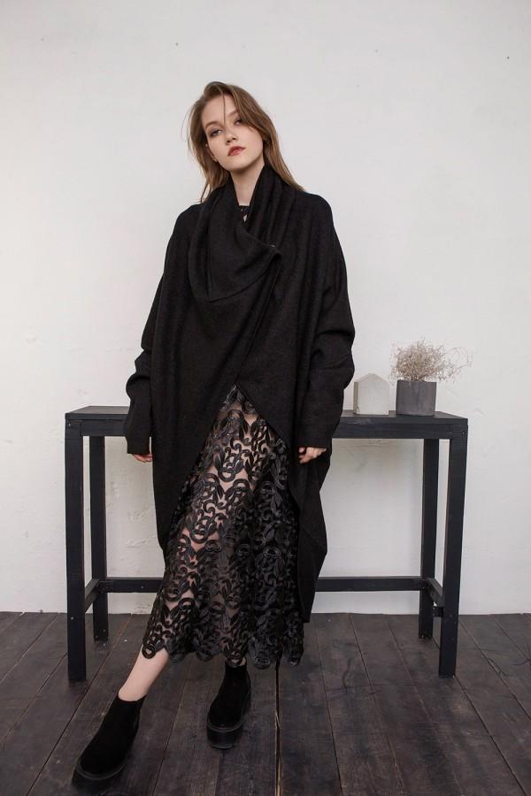 black coat-sweater