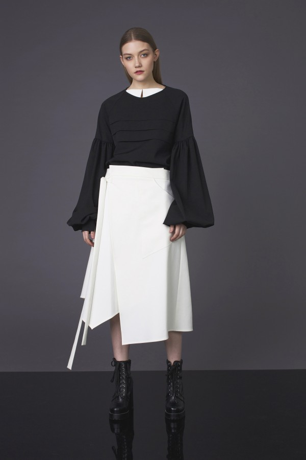 white asymmetrical  skirt