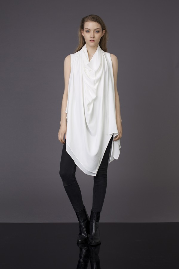 white draped blouse