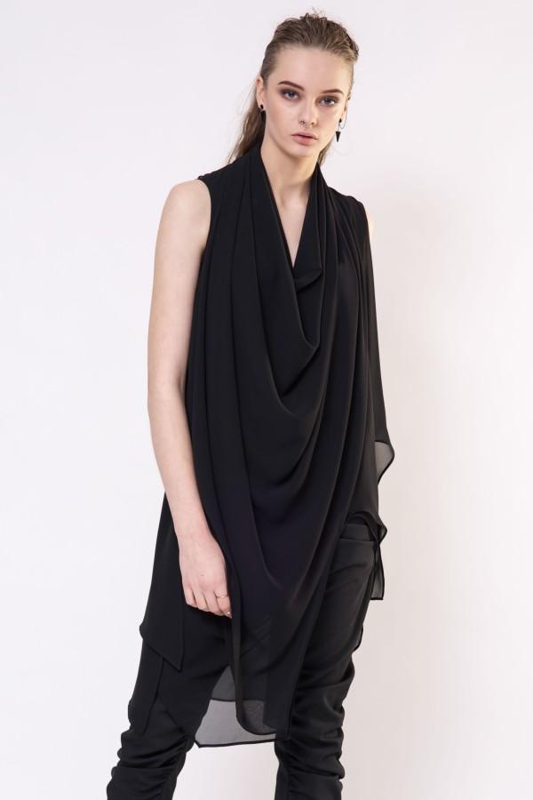 Black asymmetrical tunic blouse