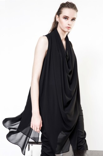 Black asymmetrical tunic blouse