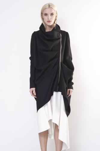 coat with drapery