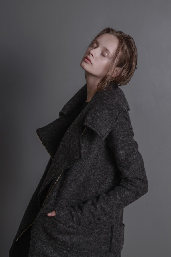 gray woolen coat