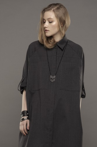 gray woolen  shirt