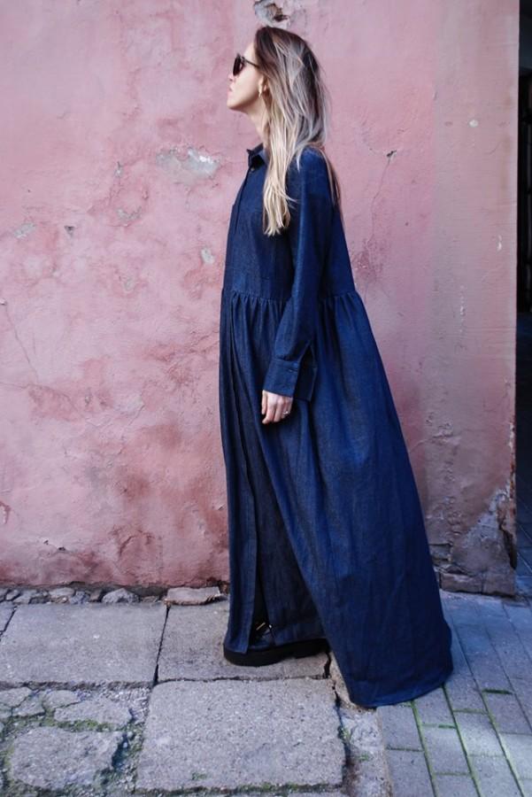 Long denim dress