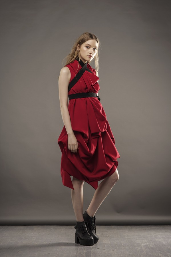 new draped red dress