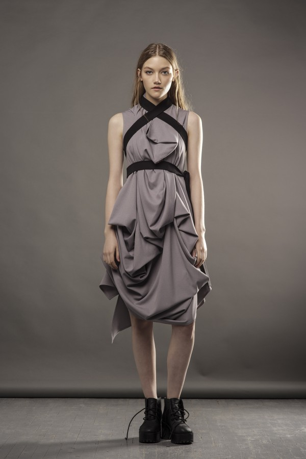 new gray draped dress