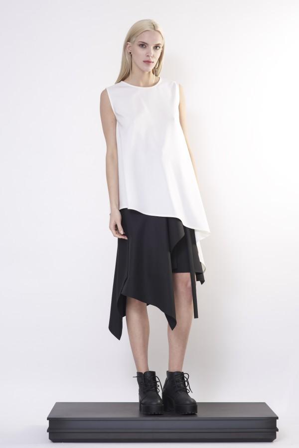 white flared blouse