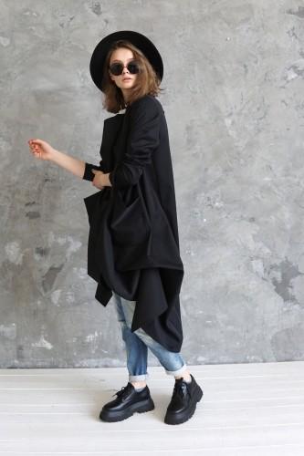 Black wool long coat