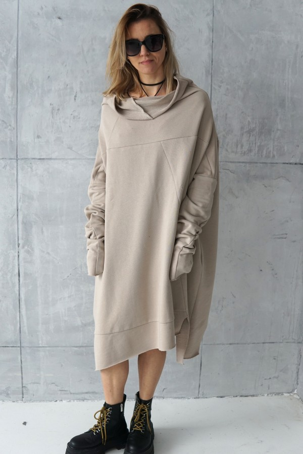 creamy dress with a high neck