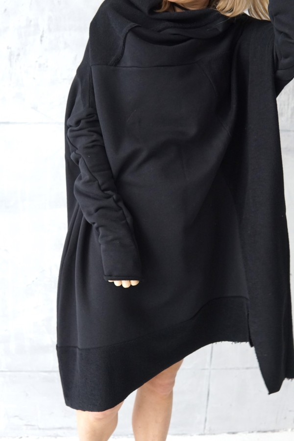 BLACK DRESS WITH A HIGH NECK