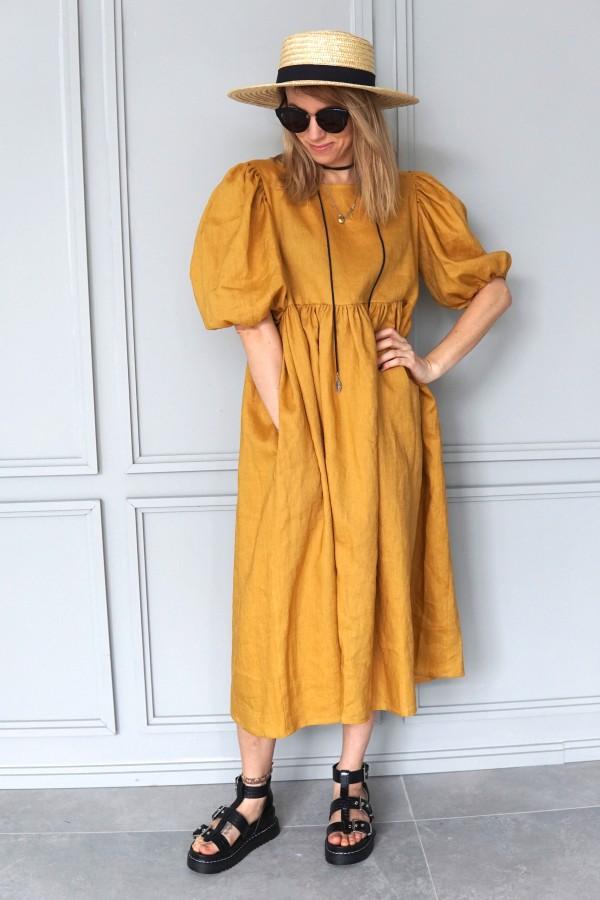 linen yellow dress