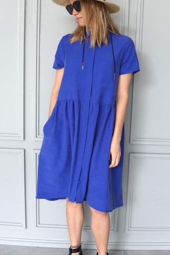 blue shirt dress