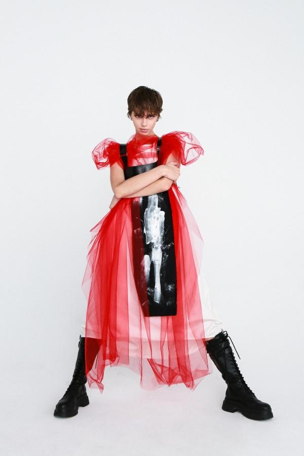 red punk dress
