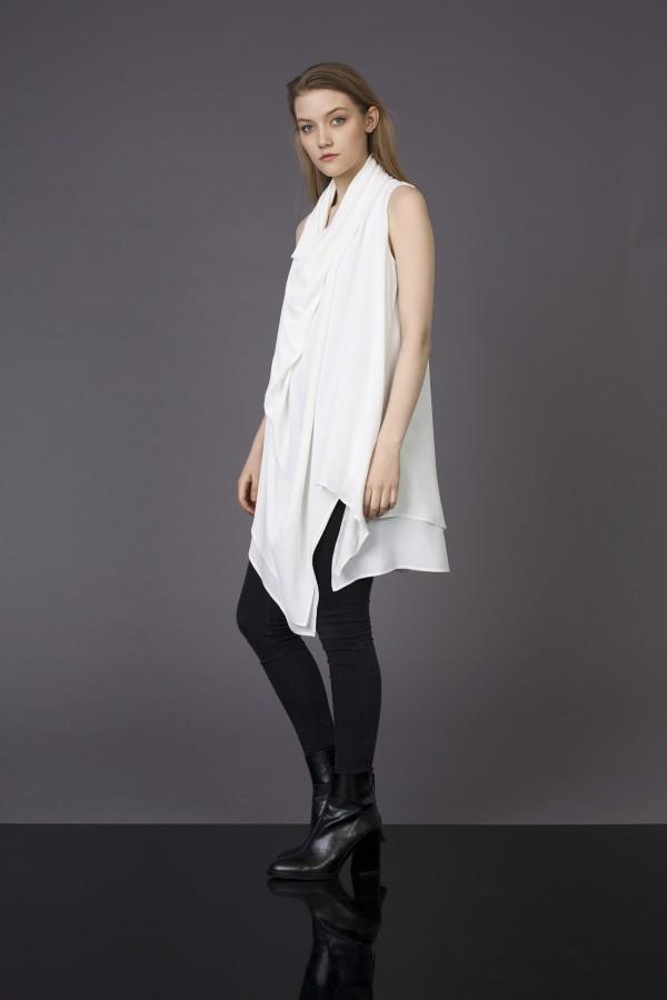 white draped blouse