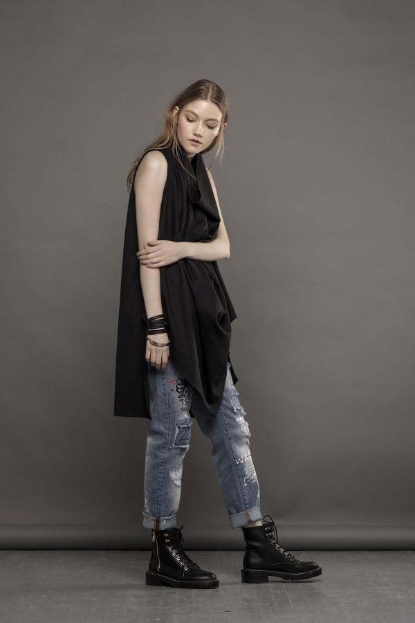black draped blouse