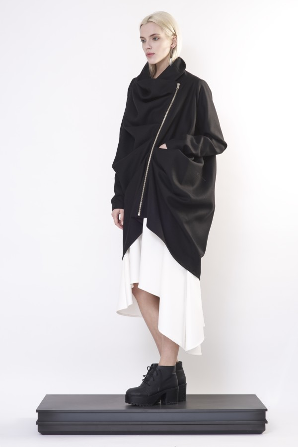 coat with drapery