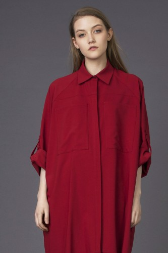 red oversize shirt