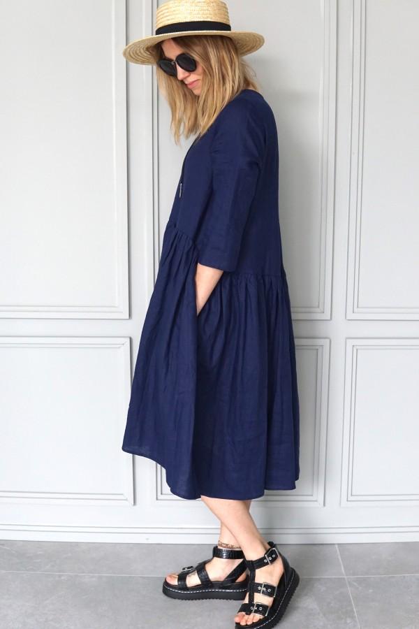 NEW BLUE LINEN DRESS