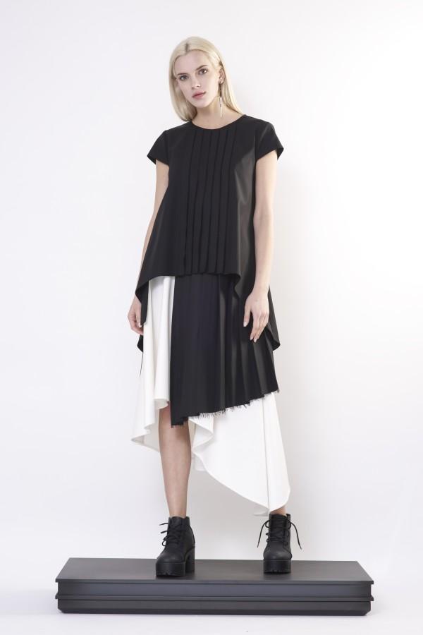 black shirt with pleats