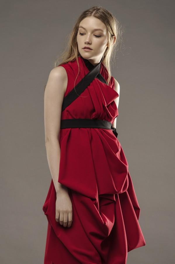 new draped red dress