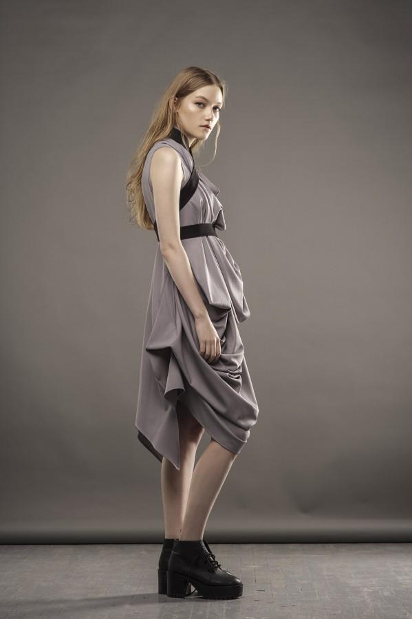 new gray draped dress
