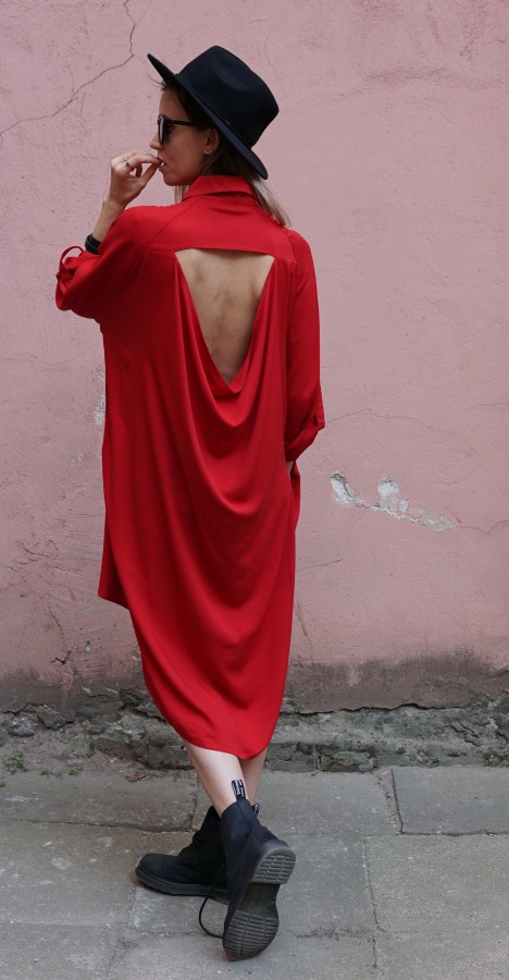red dress with detail on back