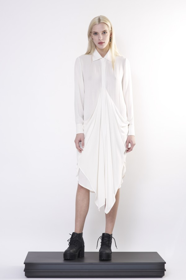 White draped shirt